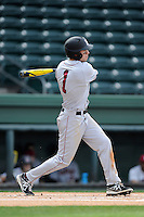 Center fielder Mike Martin (1) of the Harvard Crimson bats in a game against the Michigan State Spartans on Saturday, March 15, 2014, at Fluor Field at the West End in Greenville, South Carolina. Michigan State won, 4-0. (Tom Priddy/Four Seam Images)