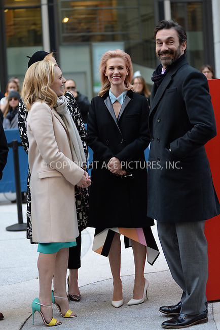 WWW.ACEPIXS.COM<br /> March 23, 2015 New York City<br /> <br /> Elisabeth Moss, January Jones and Jon Hamm attending the 'Mad Men' art installation Unveiling at Time &amp; Life Building on March 23, 2015 in New York City. <br /> <br /> Please byline: Kristin Callahan/AcePictures<br /> <br /> ACEPIXS.COM<br /> <br /> Tel: (646) 769 0430<br /> e-mail: info@acepixs.com<br /> web: http://www.acepixs.com