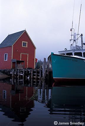 Lobster boat docked in calm water