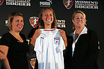 16 January 2009: Nikki Krzysik, with head coach Emma Hayes (left) and WPS Chief Operating Officer Mary Harvey (right), was taken by the Chicago Red Stars with the thirteenth overall pick (sixth of the second round). The 2009 inaugural Womens Pro Soccer (WPS) Draft was held at the Convention Center in St. Louis, Missouri in conjuction with the National Soccer Coaches Association of America's annual convention.