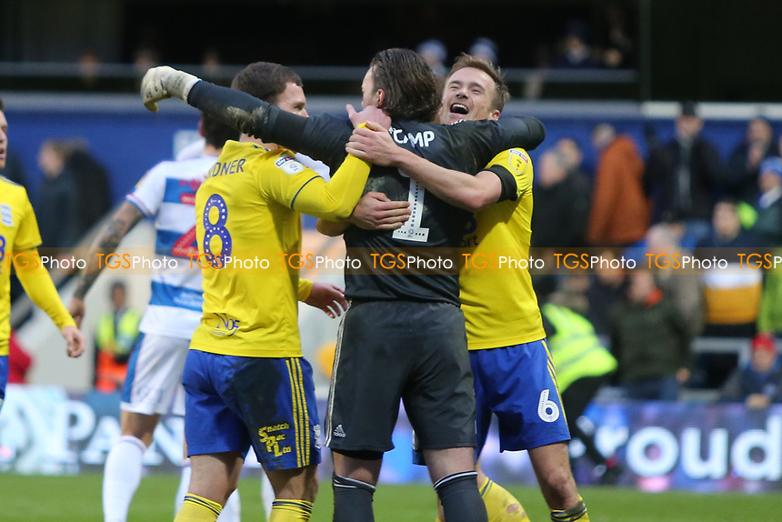Birmingham players celebrate at the final whistle during Queens Park Rangers vs Birmingham City, Sky Bet EFL Championship Football at Loftus Road Stadium on 9th February 2019