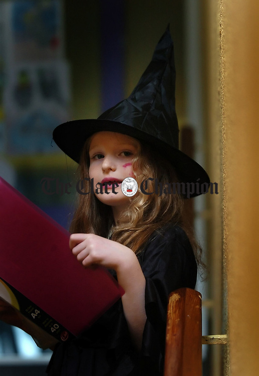 "7 year old Siofradh O'Sullivan,winner of the RTE award for ""best scary story"" in the aged under 8 category, pictured in St conaires National School where she is a pupil.Pic Arthur Ellis."