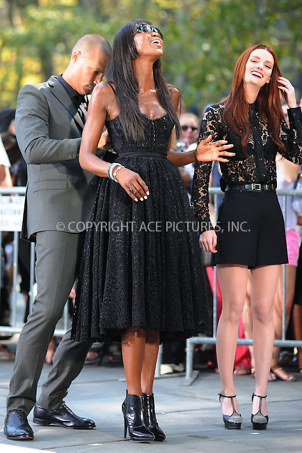 WWW.ACEPIXS.COM<br /> September 11, 2013 New York City<br /> <br /> Nigel Barker, Naomi Campbell taping a segment for 'The Face' in Bryant Park on September 11, 2013 in New York City.<br /> <br /> By Line: Kristin Callahan/ACE Pictures<br /> <br /> ACE Pictures, Inc.<br /> tel: 646 769 0430<br /> Email: info@acepixs.com<br /> www.acepixs.com<br /> Copyright:<br /> Kristin Callahan/ACE Pictures