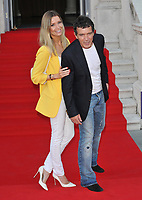 "LONDON, ENGLAND - AUGUST 08: Nicole Kimpel and Antonio Banderas at the ""Pain and Glory"" Film4 Summer Screen opening gala & launch party, Somerset House, The Strand, on Thursday 08 August 2019 in London, England, UK.<br /> CAP/CAN<br /> ©CAN/Capital Pictures"