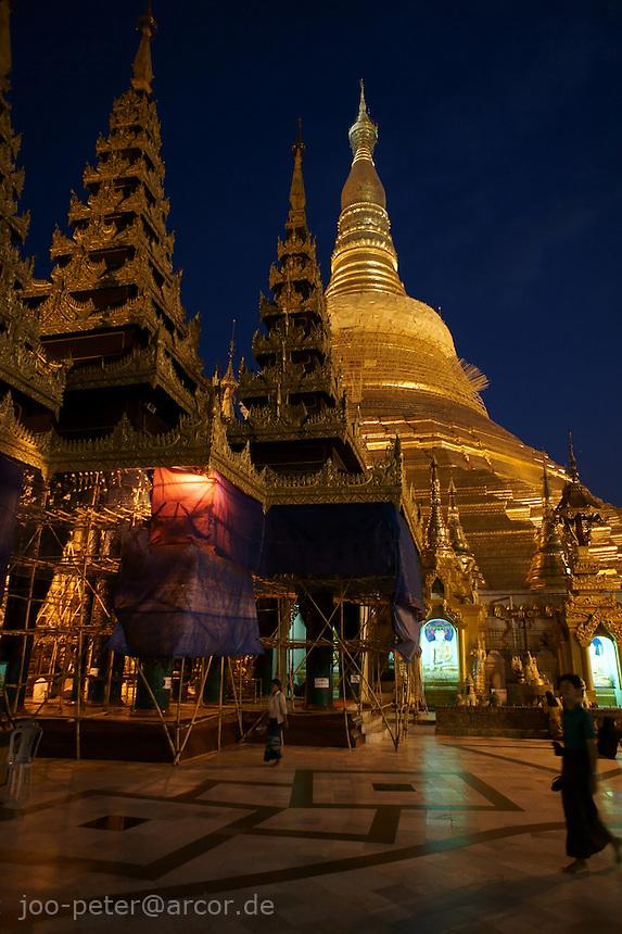 Shwedagon pagoda complex at night, Yangon, Myanmar, 2011