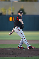 Eric Lauer (18) of the Lake Elsinore Storm pitches against the Inland Empire 66ers at San Manuel Stadium on April 29, 2017 in San Bernardino, California. Inland Empire defeated Lake Elsinore, 3-1. (Larry Goren/Four Seam Images)