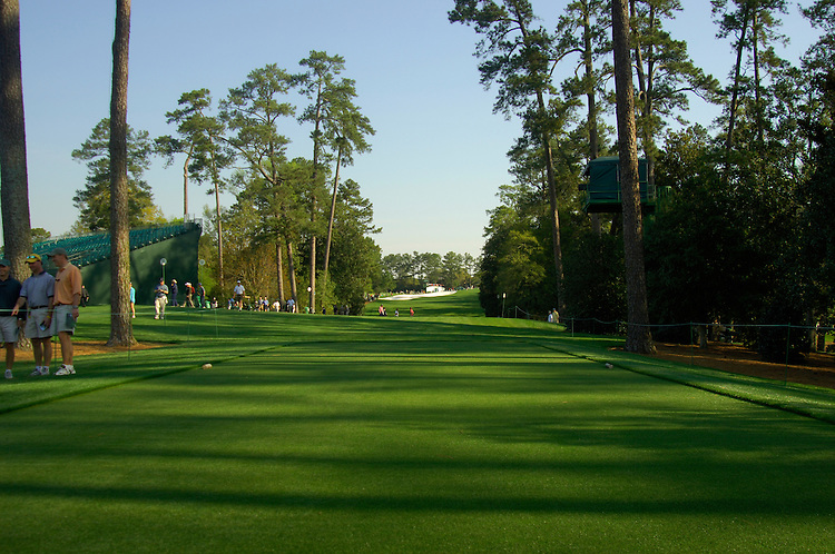 Masters Golf Tournament 2005, Augusta National Georgia, USA. 18th tee box. View up the fairway.<br /> <br /> Champion 2005 - Tiger Woods <br /> <br /> Note: There is no property release or model release available for this image.