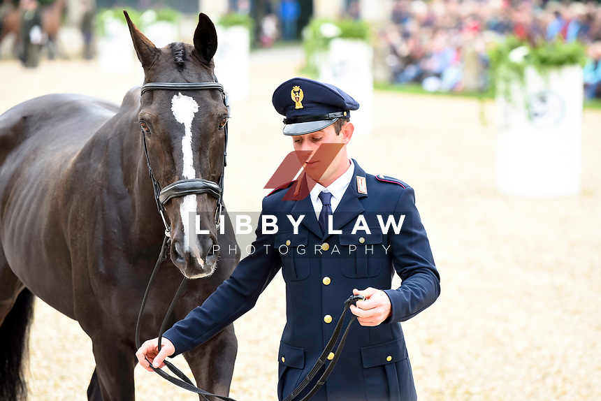 Pietro Sandei (ITA) with Mouse during the Final Horse Inspection and Final day at the 2017 Mitsubishi Motors Badminton Horse Trials.  Sunday 7 May. Copyright Photo: Julie Priestly  / Libby Law Photography