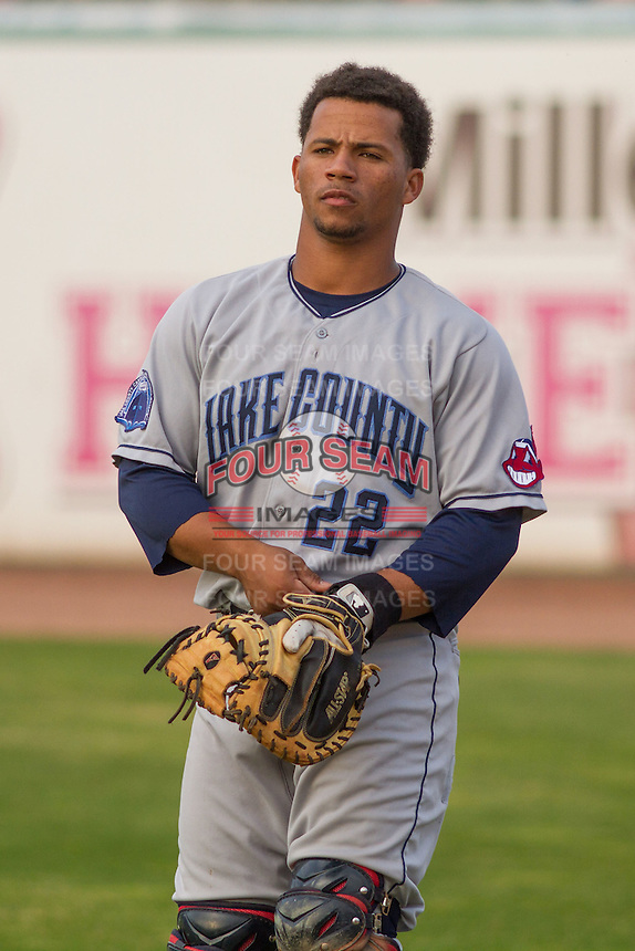 Lake County Captains catcher Francisco Mejia (22) prior to a Midwest League game against the Wisconsin Timber Rattlers on June 3rd, 2015 at Fox Cities Stadium in Appleton, Wisconsin. Wisconsin defeated Lake County 3-2. (Brad Krause/Four Seam Images)
