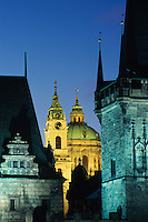 St. Nicholas Church at the Old Town Square at night, Prague, Czech Republic, Europe