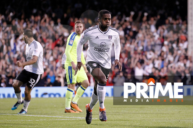 GOAL - Ryan Sessegnon of Fulham scores during the Sky Bet Championship play off semi final 2nd leg match between Fulham and Derby County at Craven Cottage, London, England on 15 May 2018. Photo by Carlton Myrie / PRiME Media Images.