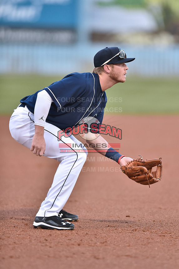 Asheville Tourists third baseman Taylor Snyder (28) awaits the play during a game against the Greenville Drive at McCormick Field on April 13, 2017 in Asheville, North Carolina. The Tourists defeated the Drive 3-1. (Tony Farlow/Four Seam Images)