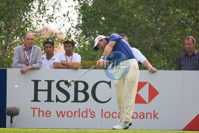 Graeme McDowell tees off on the 13th tee during Day 3 Saturday of the Abu Dhabi HSBC Golf Championship, 22nd January 2011..(Picture Eoin Clarke/www.golffile.ie)