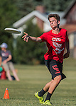 3 June 2016: Vermont Commons School plays Champlain Valley Union in the first round of the VYUL State Ultimate Disk Championships at Bombardier Park in Milton, Vermont. Mandatory Credit: Ed Wolfstein Photo *** RAW (NEF) Image File Available ***