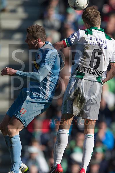 (L-R), Noel Gossens of FC Dordrecht, Maikel Kieftenbeld of FC Groningen,