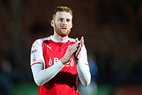 Cian Bolger of Fleetwood Town claps the fans after the Sky Bet League 1 match between Rochdale and Fleetwood Town at Spotland Stadium, Rochdale, England on 20 March 2018. Photo by Thomas Gadd.