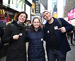 Barrett Wilbert Weed and Grey Henson from Actors' Equity members talk to Broadway audiences about why they are fighting for a better development contract with the Broadway League after the Union announced Monday a strike for all development work with the Broadway League. TKTS Booth, Duffy Square Neil January 8, 2019 in New York City.