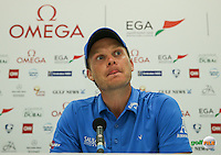 Danny Willett (ENG) in post-win media interview after the Final Round of the 2016 Omega Dubai Desert Classic, played on the Emirates Golf Club, Dubai, United Arab Emirates.  07/02/2016. Picture: Golffile | David Lloyd<br /> <br /> All photos usage must carry mandatory copyright credit (&copy; Golffile | David Lloyd)