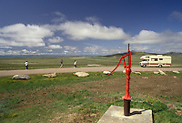 AJ3547, South Dakota, water pump, Belle Fourche, Geographical Center of United States, A red water pump at the Geographical Center of the United States in Belle Fourche in the state of South Dakota.