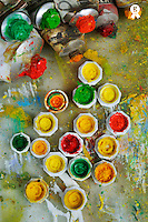 Bunch of opened paint tubes on palette (Licence this image exclusively with Getty: http://www.gettyimages.com/detail/106421916 )
