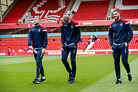 Bolton Wanderers' Connor Hall, Jake Turner and Chori Johnson pictured before the match <br /> <br /> Photographer Andrew Kearns/CameraSport<br /> <br /> The EFL Sky Bet Championship - Nottingham Forest v Bolton Wanderers - Sunday 5th May 2019 - The City Ground - Nottingham<br /> <br /> World Copyright © 2019 CameraSport. All rights reserved. 43 Linden Ave. Countesthorpe. Leicester. England. LE8 5PG - Tel: +44 (0) 116 277 4147 - admin@camerasport.com - www.camerasport.com