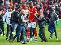 Barnsley's Ethan Pinnock is mobbed by fans after the match<br /> <br /> Photographer Alex Dodd/CameraSport<br /> <br /> The EFL Sky Bet League One - Barnsley v Blackpool - Saturday 27th April 2019 - Oakwell - Barnsley<br /> <br /> World Copyright © 2019 CameraSport. All rights reserved. 43 Linden Ave. Countesthorpe. Leicester. England. LE8 5PG - Tel: +44 (0) 116 277 4147 - admin@camerasport.com - www.camerasport.com