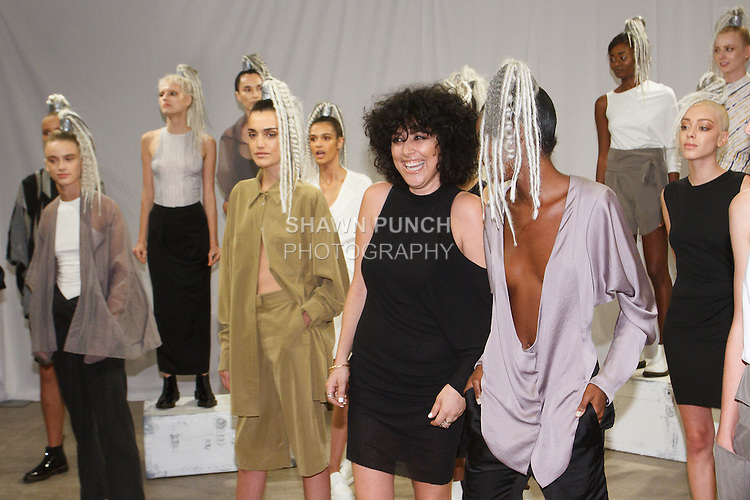 """Fashion designer Rinat Brodach (front row second from right) poses with models during her Rinat Brodach Spring Summer 2017 """"About Last Night"""" collection Fashion presentation at The AFA Gallery on 54 Greene Street, New York City, on September 12, 2016 during New York Fashion Week Spring Summer 2017."""