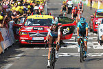 Romain Bardet (FRA) AG2R La Mondiale crosses the finish line at the end of Stage 16 of the 2019 Tour de France running 177km from Nimes to Nimes, France. 23rd July 2019.<br /> Picture: Colin Flockton | Cyclefile<br /> All photos usage must carry mandatory copyright credit (© Cyclefile | Colin Flockton)