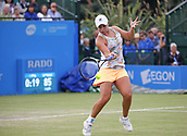 June 16th 2017, Nottingham, England;WTA Aegon Nottingham Open Tennis Tournament day 7;  Ashleigh Barty of Australia plays a forehand in her match against Johanna Konta of Great Britain; Konta won 6-3, 7-5 to reach the semi finals
