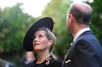 Pictured: Sophie, Countess of Wessex (left) and Prince Edward (right), Earl of Wessex arrive at Llandaff Cathedral, Cardiff, Wales, UK.  Sunday 11 November 2018<br /> Re: Commemoration for the 100 years since the end of the First World War on Remembrance Day at the Llandaff Cathedral, in Llandaff, Cardiff, Wales, UK.