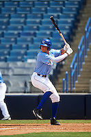 First Baseman Brandon Trammell (15) of Bearden High School in Knoxville, Tennessee playing for the Kansas City Royals scout team during the East Coast Pro Showcase on August 3, 2016 at George M. Steinbrenner Field in Tampa, Florida.  (Mike Janes/Four Seam Images)