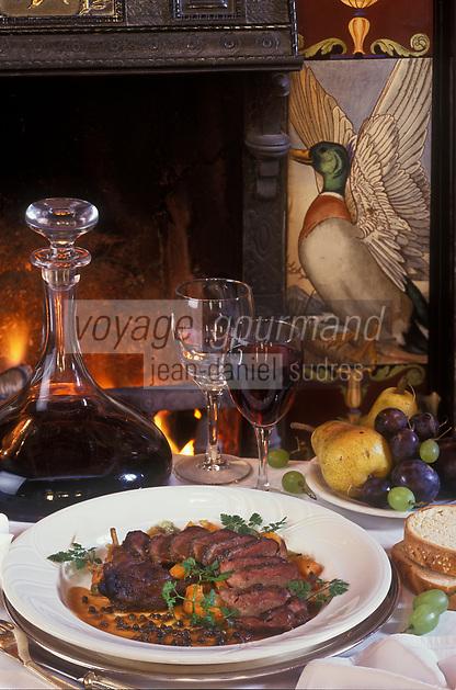 Europe /Irlande/Comté de Wicklow: Canard sauvage roti, sauce au poivre vert recette de John Moloney du  restaurant: Tinakilly