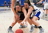 NWA Democrat-Gazette/CHARLIE KAIJO Rogers High School guard Courtney Storey (2) tries to steal the ball from Siloam Springs High School guard Brooklynn Shreve (13), during the Great 8 Tournament, Thursday, November 29, 2018 at King Arena at Rogers High School in Rogers.