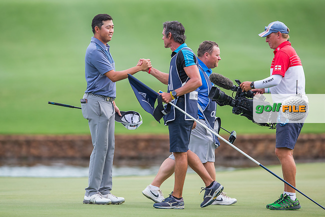 David Lipsky (USA) and caddy Nick Mumford on the 18th during the final round of the Alfred Dunhill Championship, Leopard Creek Golf Club, Malelane, South Africa. 16/12/2018<br /> Picture: Golffile | Tyrone Winfield<br /> <br /> <br /> All photo usage must carry mandatory copyright credit (© Golffile | Tyrone Winfield)