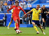 SAMARA - RUSIA, 07-07-2018: Sebastian LARSSON (Der) jugador de Suecia disputa el balón con Dele ALLI (Izq) jugador de Inglaterra durante partido de cuartos de final por la Copa Mundial de la FIFA Rusia 2018 jugado en el estadio Samara Arena en Samara, Rusia. / Sebastian LARSSON (R) player of Sweden fights the ball with Dele ALLI (L) player of England during match of quarter final for the FIFA World Cup Russia 2018 played at Samara Arena stadium in Samara, Russia. Photo: VizzorImage / Julian Medina / Cont