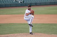 Salt River Rafters relief pitcher Colin Poche (99), of the Arizona Diamondbacks organization, delivers a pitch to the plate during an Arizona Fall League game against the Mesa Solar Sox on October 30, 2017 at Salt River Fields at Talking Stick in Scottsdale, Arizona. The Solar Sox defeated the Rafters 8-4. (Zachary Lucy/Four Seam Images)