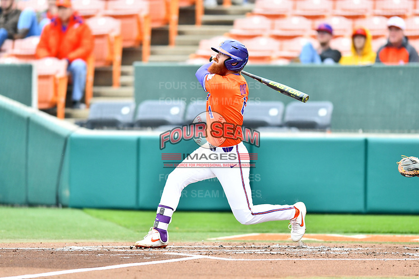 Clemson Tigers third baseman Grayson Byrd (4) swings at a pitch during a game against the North Carolina Tar Heels at Doug Kingsmore Stadium on March 9, 2019 in Clemson, South Carolina. The Tigers defeated the Tar Heels 3-2 in game one of a double header. (Tony Farlow/Four Seam Images)