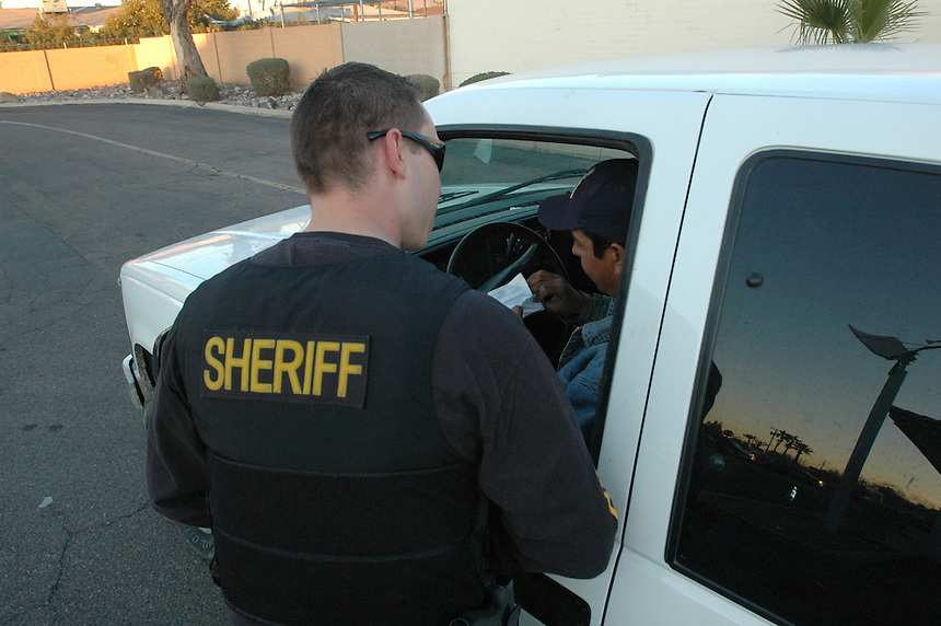 A Traffic Stop during one of Sheriff Joe Arpaio's Crime Surppression Sweeps in Phoenix, Arizona..Photo by AJ Alexander
