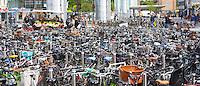 Many hundreds of bicycles at a bike park in Copenhagen on Zealand, Denmark