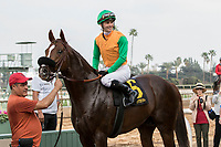 ARCADIA, CA FEBRUARY 10:  #6 Om, ridden by Flavien Prat, in the winners circle after winning the Thunder Road Stakes (Grade lll) on February 10, 2018 at Santa Anita Park in Arcadia, CA.(Photo by Casey Phillips/ Eclipse Sportswire/ Getty Images)