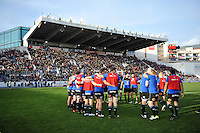 The Bath Rugby team huddle together during the pre-match warm-up. European Rugby Champions Cup match, between RC Toulon and Bath Rugby on January 10, 2016 at the Stade Mayol in Toulon, France. Photo by: Patrick Khachfe / Onside Images
