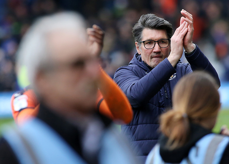 Luton Town manager Mick Harford at the final whistle<br /> <br /> Photographer David Shipman/CameraSport<br /> <br /> The EFL Sky Bet League One - Luton Town v Blackpool - Saturday 6th April 2019 - Kenilworth Road - Luton<br /> <br /> World Copyright © 2019 CameraSport. All rights reserved. 43 Linden Ave. Countesthorpe. Leicester. England. LE8 5PG - Tel: +44 (0) 116 277 4147 - admin@camerasport.com - www.camerasport.com