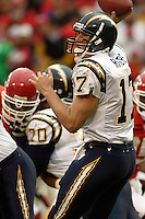 San Diego Chargers quarterback Philip Rivers throws a pass during first quarter action at Arrowhead Stadium  in Kansas City, MO on October 22, 2006. The Chiefs won 30-27.