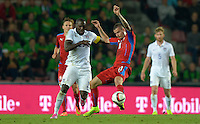 PRAGUE, Czech Republic - September 3, 2014: USA's Jozy Altidore and Daniel Pudil of the Czech Republic during the international friendly match between the Czech Republic and the USA at Generali Arena.