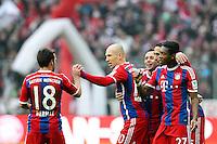 14.02.2015, Allianz Arena, Muenchen, GER, 1. FBL, FC Bayern Muenchen vs Hamburger SV, 21. Runde, im Bild l-r: Torjubel von Juan Bernat #18 (FC Bayern Muenchen), Arjen Robben #10 (FC Bayern Muenchen), Rafinha #13 (FC Bayern Muenchen), Mehdi Benatia #5 (FC Bayern Muenchen), David Alaba #27 (FC Bayern Muenchen) // during the German Bundesliga 21th round match between FC Bayern Munich and Hamburger SV at the Allianz Arena in Muenchen, Germany on 2015/02/14. EXPA Pictures © 2015, PhotoCredit: EXPA/ Eibner-Pressefoto/ Kolbert<br /> <br /> *****ATTENTION - OUT of GER***** <br /> Football Calcio 2014/2015<br /> Bundesliga Germania<br /> Foto Expa / Insidefoto