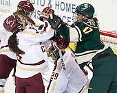 Dana Trivigno (BC - 8), Delia McNally (UVM - 17) - The Boston College Eagles defeated the visiting University of Vermont Catamounts 2-0 on Saturday, January 18, 2014, at Kelley Rink in Conte Forum in Chestnut Hill, Massachusetts.