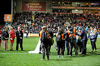Popular tv show 'Don't tell the bride' filming during half time <br /> <br /> Photographer Hannah Fountain/CameraSport<br /> <br /> Gallagher Premiership - Leicester Tigers v Northampton Saints - Friday 22nd March 2019 - Welford Road - Leicester<br /> <br /> World Copyright © 2019 CameraSport. All rights reserved. 43 Linden Ave. Countesthorpe. Leicester. England. LE8 5PG - Tel: +44 (0) 116 277 4147 - admin@camerasport.com - www.camerasport.com