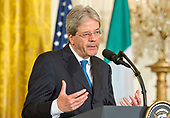 Prime Minister Paolo Gentiloni of Italy conducts a joint press conference with United States President Donald J. Trump in the East Room of the White House in Washington, DC on Thursday, April 20, 2017.<br /> Credit: Ron Sachs / CNP