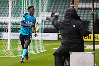 Fleetwood Town's  Jordy Hiwula celebrates scoring his side's first goal in front of the TV camera <br /> <br /> Photographer Andrew Kearns/CameraSport<br /> <br /> The EFL Sky Bet League One - Plymouth Argyle v Fleetwood Town - Saturday 7th October 2017 - Home Park - Plymouth<br /> <br /> World Copyright &copy; 2017 CameraSport. All rights reserved. 43 Linden Ave. Countesthorpe. Leicester. England. LE8 5PG - Tel: +44 (0) 116 277 4147 - admin@camerasport.com - www.camerasport.com