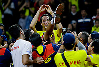 BOGOTA, COLOMBIA - MARCH 7: Daniel Galan of Colombia, celebrate with his teammates after defeat Juan Londero of Argentina during the game 4 of their Copa Davis 2020 in Bogota Colombia on March 7, 2020. (Photo by Leonardo Munoz/VIEWpress via Getty Images)